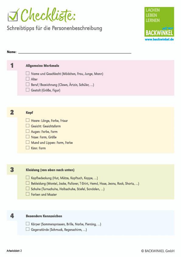 Personenbeschreibung Arbeitsblätter Tipps Und übungen Für