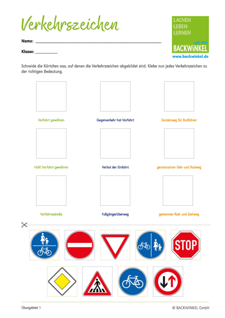BACKWINKEL – Übungsblatt zur Verkehrserziehung - Blatt 1
