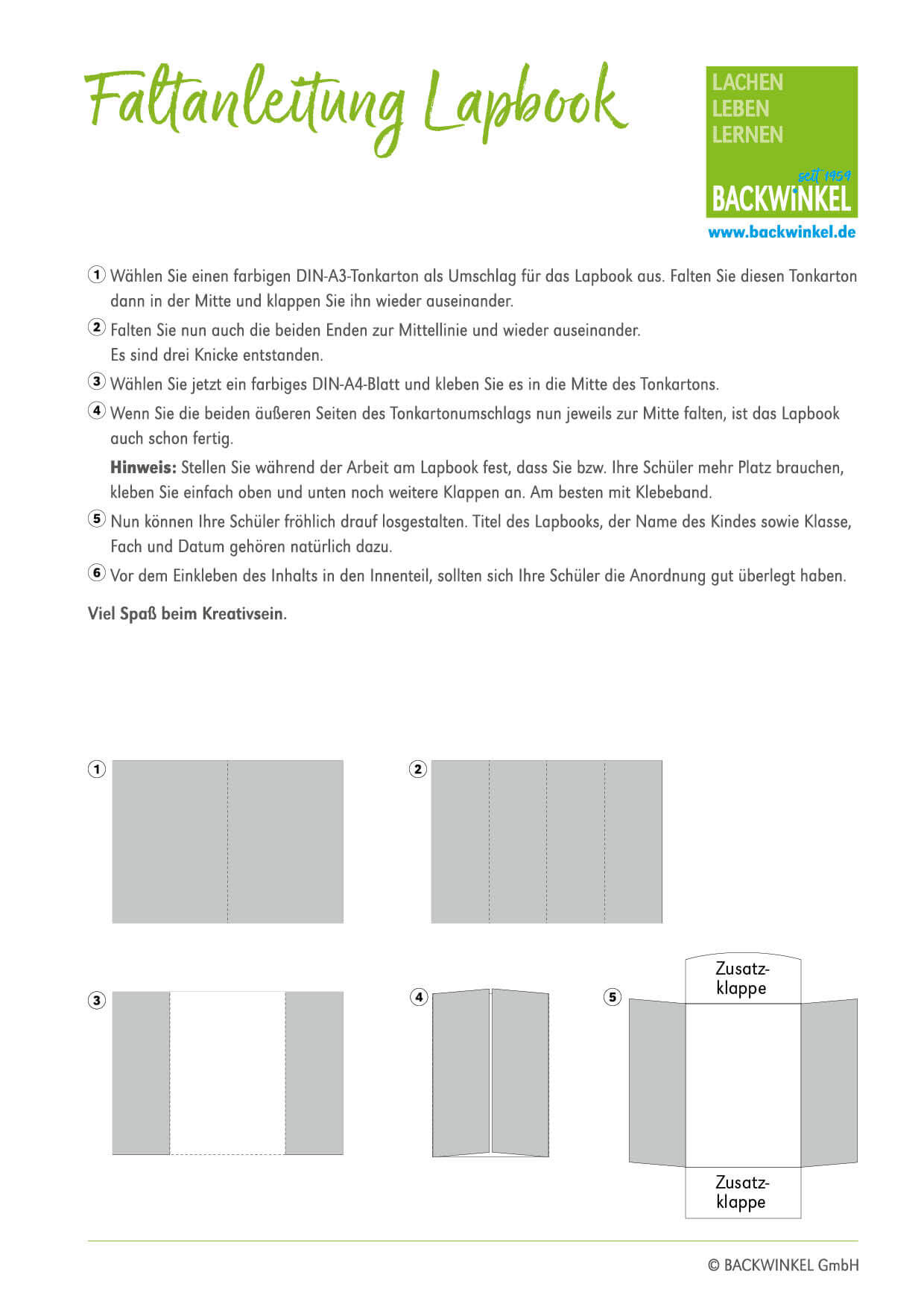 BACKWINKEL – Lapbook Faltanleitung